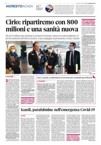 Dalla crisi sanitaria a quella economica: Cirio fa il punto sul numero di Gazzetta in edicola domani