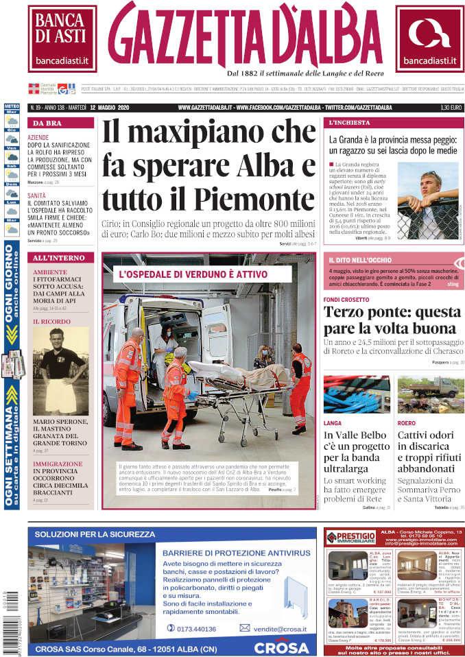 La copertina di Gazzetta d'Alba in edicola martedì 12 maggio