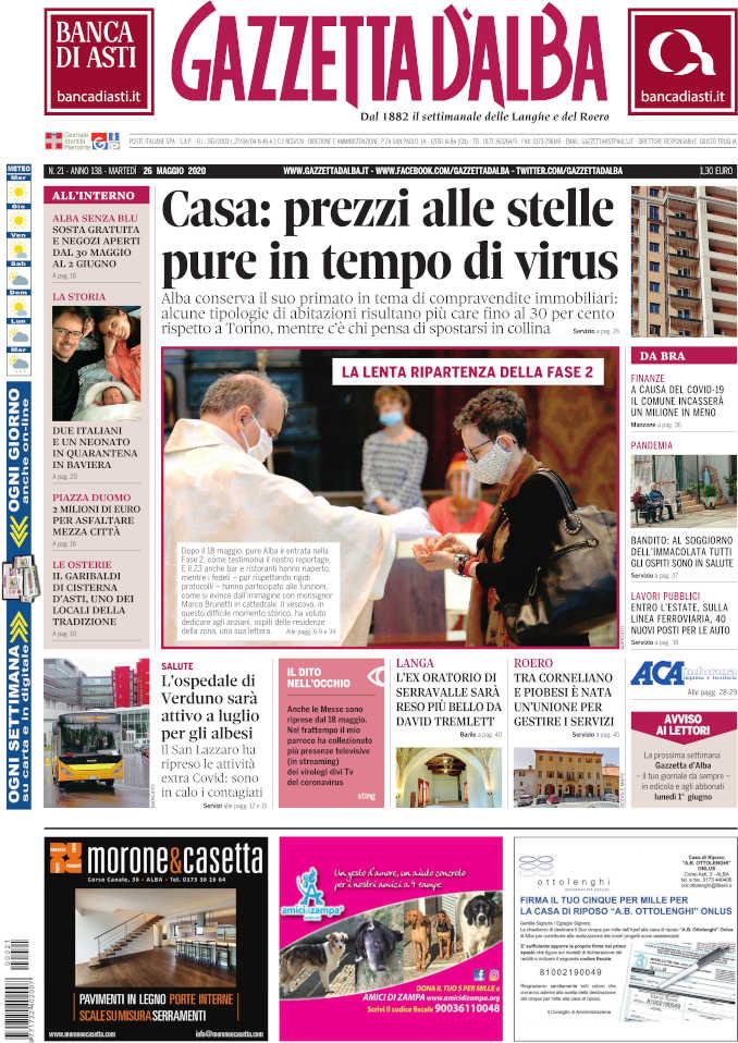 La copertina di Gazzetta d'Alba in edicola martedì 26 maggio