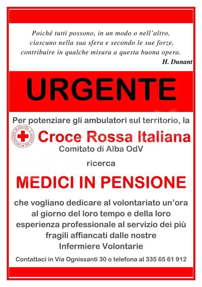 La Croce rossa di Alba cerca medici in pensione per gli ambulatori sul territorio