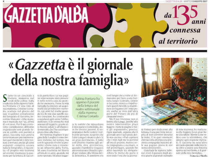 L'ultimo saluto a Sabina Fontana, affezionata lettrice di Gazzetta d'Alba