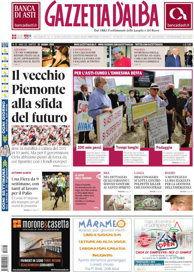 La copertina di Gazzetta d'Alba in edicola martedì 23 giugno