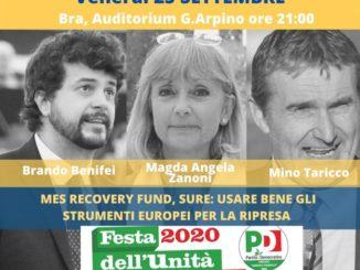 Festa dell'unità a Bra, stasera una conferenza sui fondi per la ripartenza