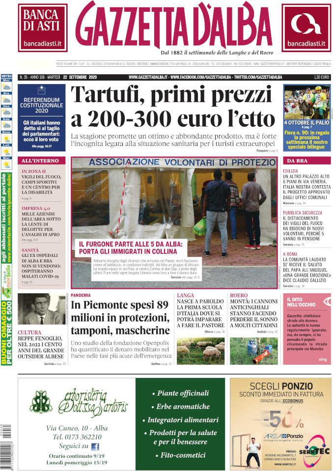 La copertina di Gazzetta d'Alba in edicola martedì 22 settembre