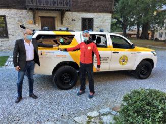 Cerimonia d'inaugurazione per il nuovo fuoristrada del Soccorso Alpino e Speleologico Piemontese sezione di Cuneo