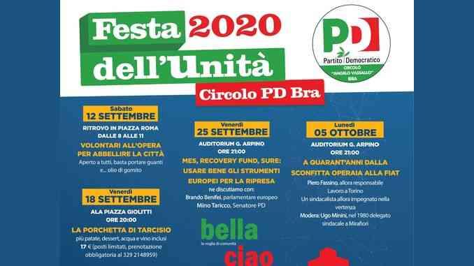 Quattro appuntamenti per la Festa dell'unità del circolo Pd di Bra
