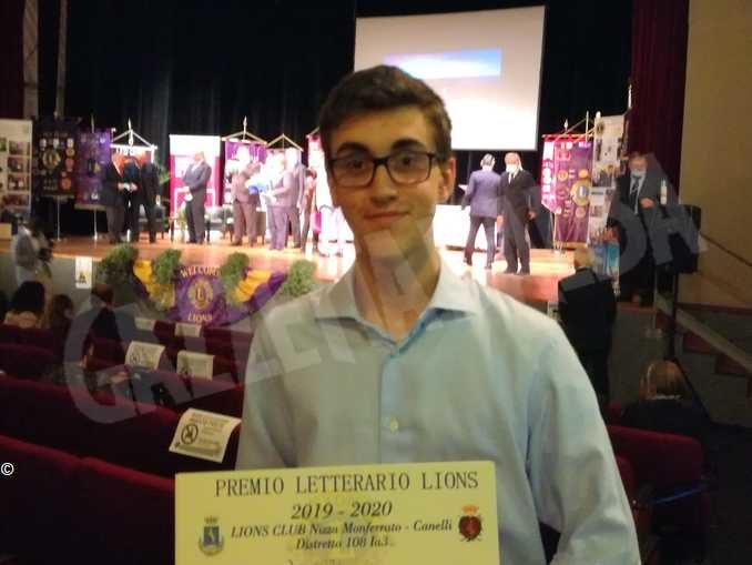 Vilfredo Rabino neodiplomato al classico Govone vince il premio letterario Lions 2