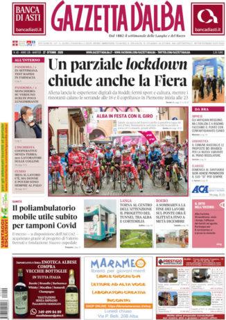 La copertina di Gazzetta d'Alba in edicola martedì 27 ottobre