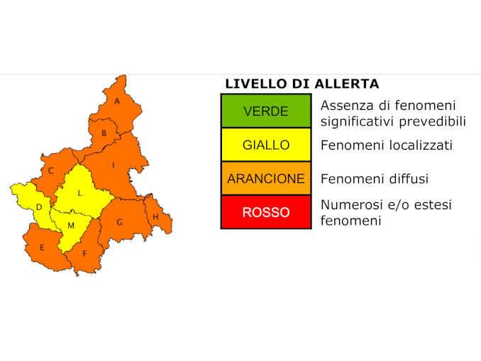 Maltempo: sul Piemonte meridionale è in vigore l'allerta arancione