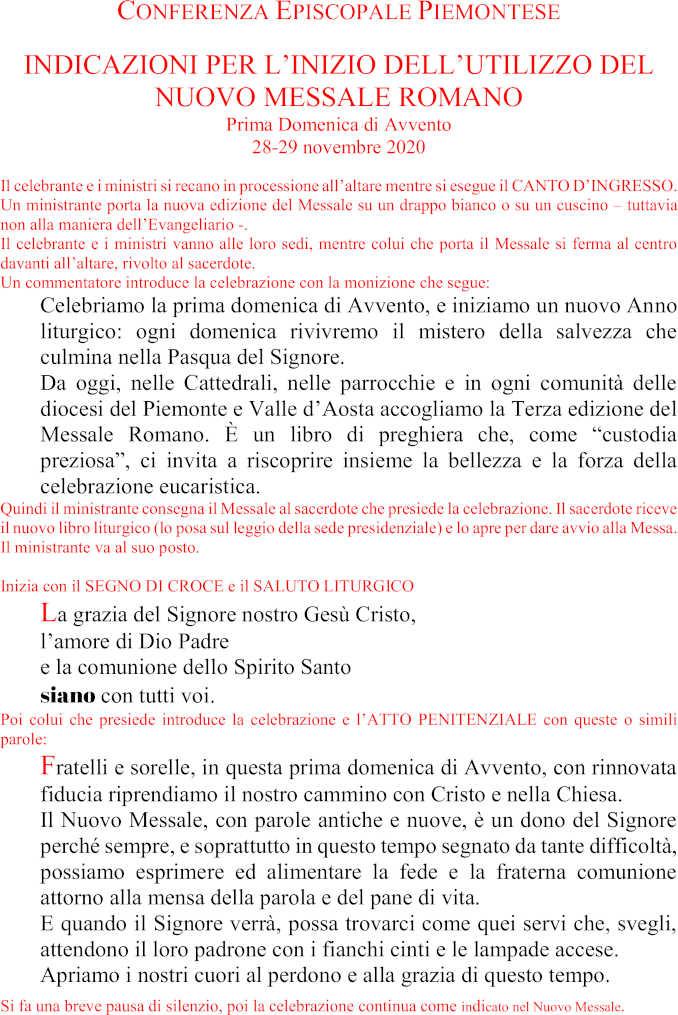 CEP – Messale III Edizione – Rito per iniziare l'uso – I Avvento