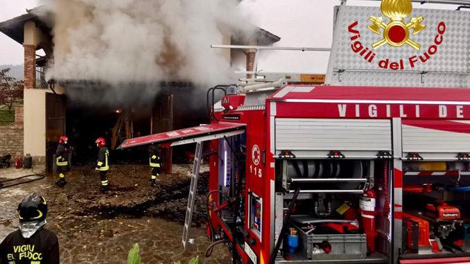 Incendio nella notte a Diano d'Alba, a fuoco una legnaia