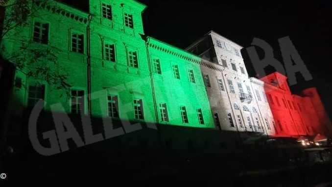 Egea illumina anche il castello di Magliano Alfieri col tricolore