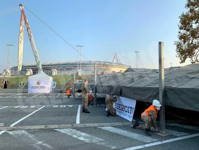 Punto medico allestito allo stadio della Juventus per i test rapidi