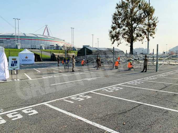 Punto medico allestito allo stadio della Juventus per i test rapidi 1
