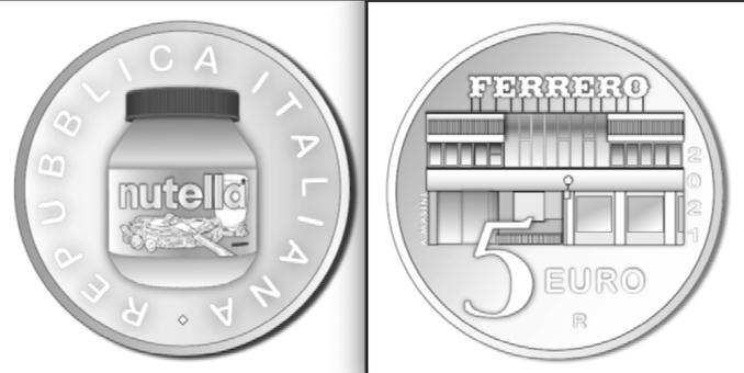 Una moneta d'argento da 5 euro dedicata alla Nutella