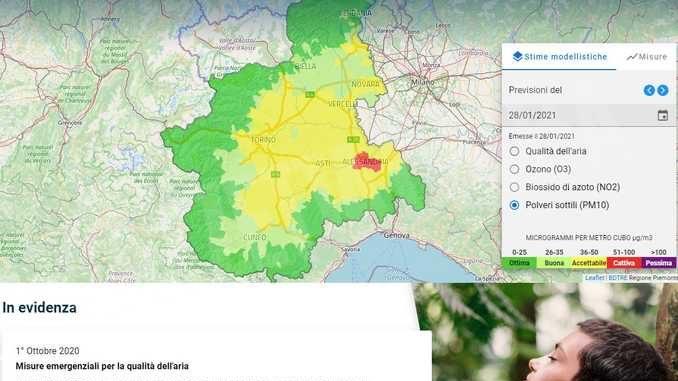 Il Piemonte vara un sito web sulla qualità dell'aria
