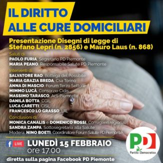 Domiciliarità, Furia e Canalis (Pd): «Il Pd piemontese apripista sul diritto alle cure» 1
