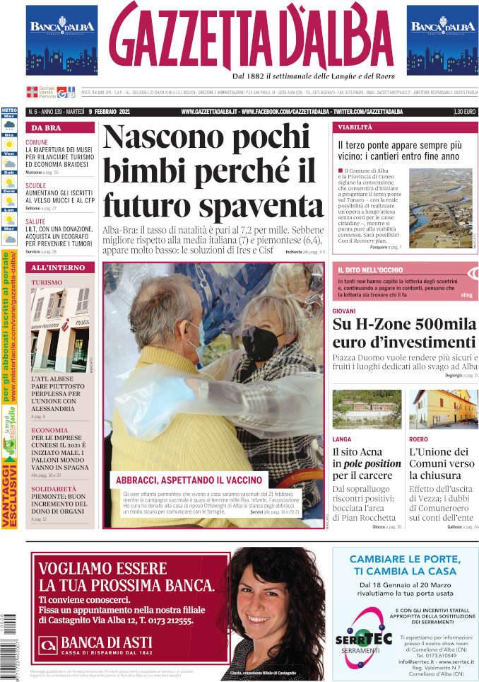 La copertina di Gazzetta d'Alba in edicola martedì 9 febbraio