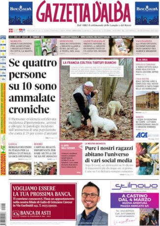La copertina di Gazzetta d'Alba in edicola martedì  23 febbraio