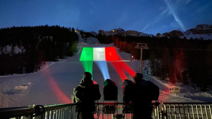 Proietta di Avigliana illumina Cortina per i mondiali 2021 di sci alpino  (FOTOGALLERY)