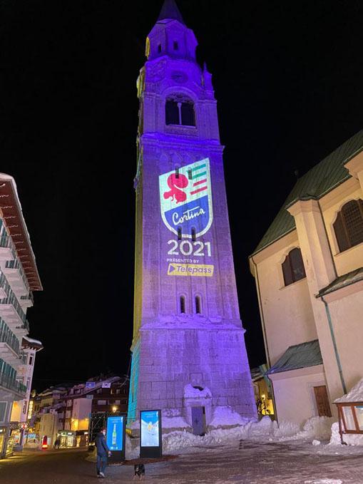 Proietta di Avigliana illumina Cortina per i mondiali 2021 di sci alpino  (FOTOGALLERY) 1