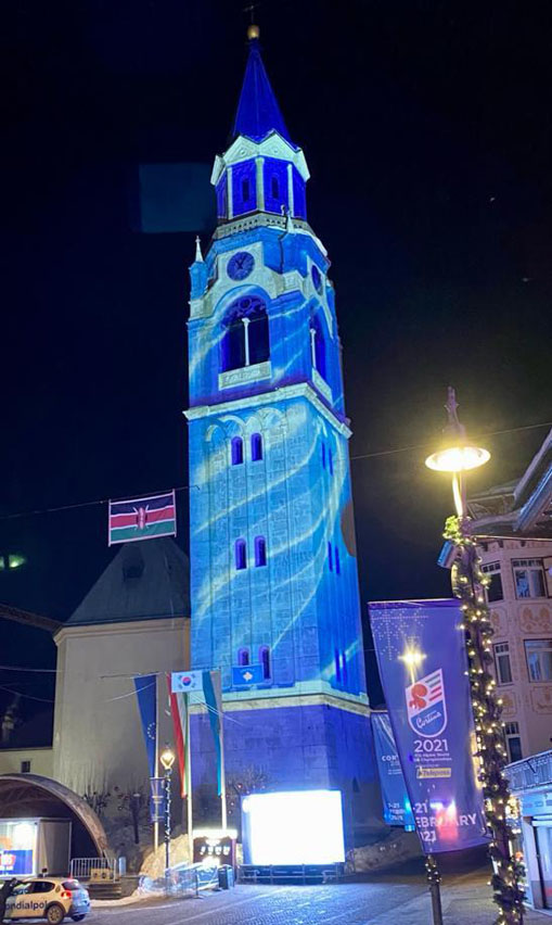 Proietta di Avigliana illumina Cortina per i mondiali 2021 di sci alpino  (FOTOGALLERY) 3