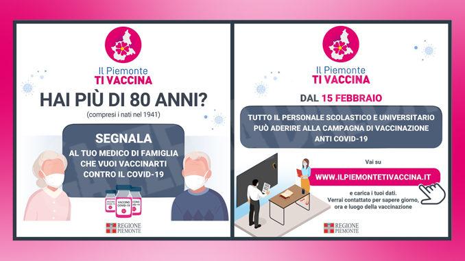 Campagna di vaccinazione anti-Covid-19 del Piemonte: dal 15 febbraio le adesioni di ultra 80enni e personale scolastico e universitario