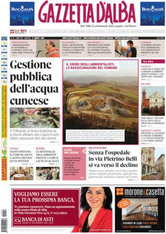 La copertina di Gazzetta d'Alba in edicola martedì 9 marzo