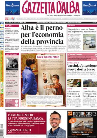 La copertina di Gazzetta d'Alba in edicola martedì 23 marzo