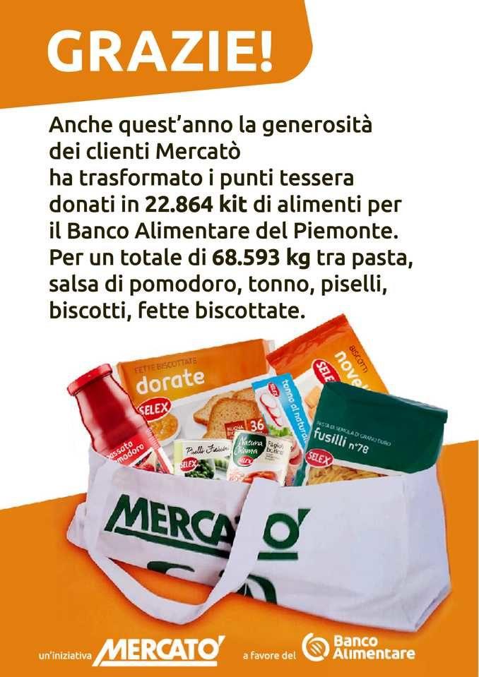La solidarietà non si ferma: 68.593 chili di cibo donati al Banco alimentare dai clienti Mercatò