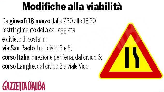 Da domani restringimenti e divieti di sosta in via San Paolo, corso Italia e corso Langhe