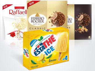Ferrero lancia la sfida sui gelati confezionati: gli stecchi Ferrero Rocher, nelle versioni Classic e Dark, Raffaello, ed i ghiaccioli all'Estathé