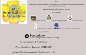 Sabato 24 aprile premiato il giovane Francesco Molinaro presso la Casa Natale del Santo Cottolengo 1