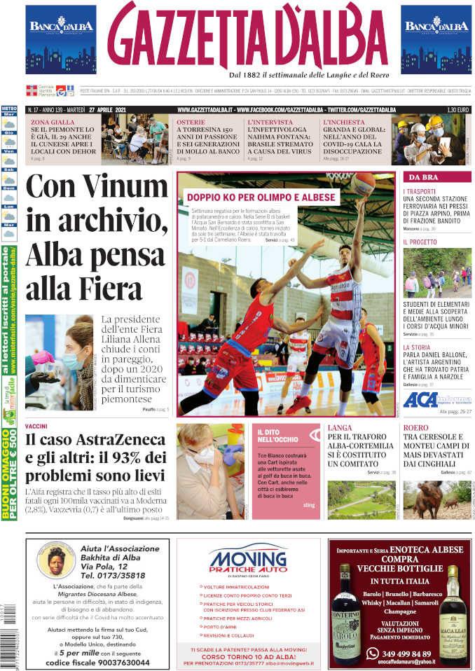 La copertina di Gazzetta d'Alba in edicola martedì 27 aprile