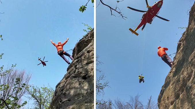Recupero di una giovane scalatrice infortunata presso la falesia di Lungaserra nel comune di Barge