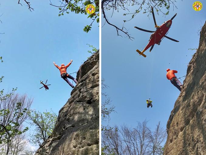 Recupero di uno scalatore infortunato presso la falesia di Lungaserra nel comune di Barge