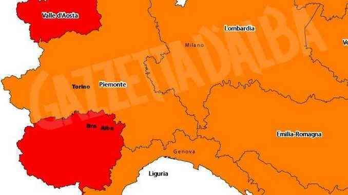 Il Piemonte (tranne Cuneo) è arancione, ma bisogna tenere alta la guardia