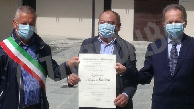 Il cavaliere Giovanni Barbero è diventato Ufficiale della Repubblica