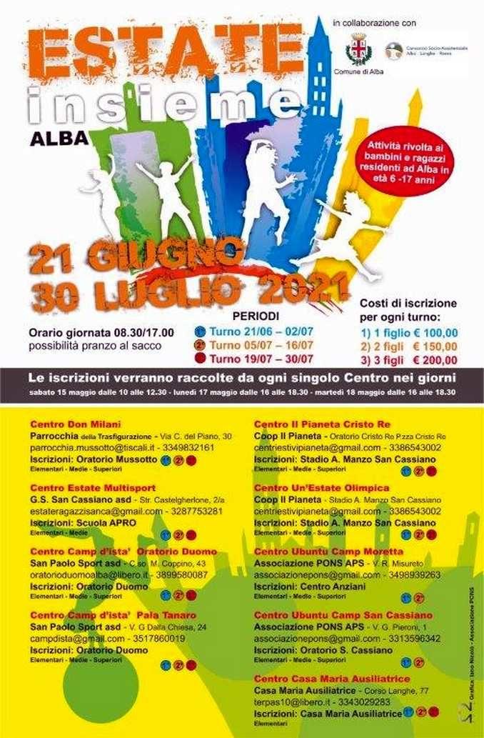 Estate ragazzi ad Alba: iscrizioni aperte da sabato 15 maggio