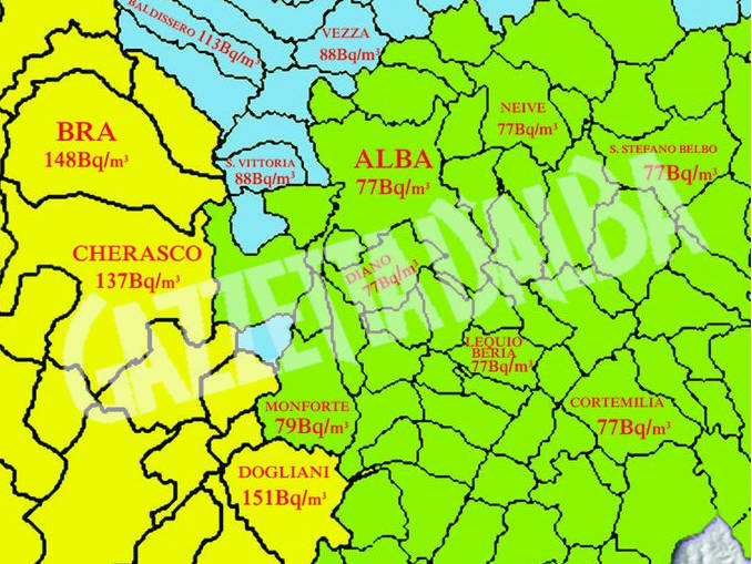 Mappa radon Langhe e Roero