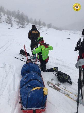 Sestriere: complicato recupero di uno scialpinista presso il passo di San Giacomo nel Vallone del Chisonetto 1