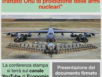 39 associazioni chiedono all'Italia di ratificare il trattato Onu di proibizione della armi nucleari