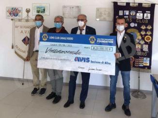 I Lions donano 29mila euro all'Avis albese per l'acquisto del nuovo furgone
