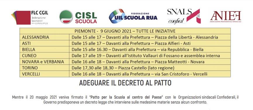 Scuola in piazza il 9 giugno in tutte le province del Piemonte