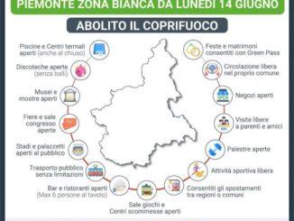Il Piemonte da domani, lunedì 14 giugno, è zona bianca