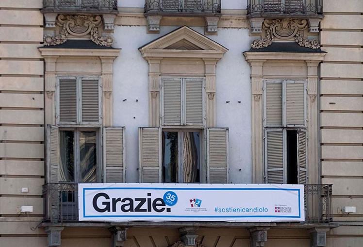 striscione Candiolo – Palazzo della Giunta – Torino