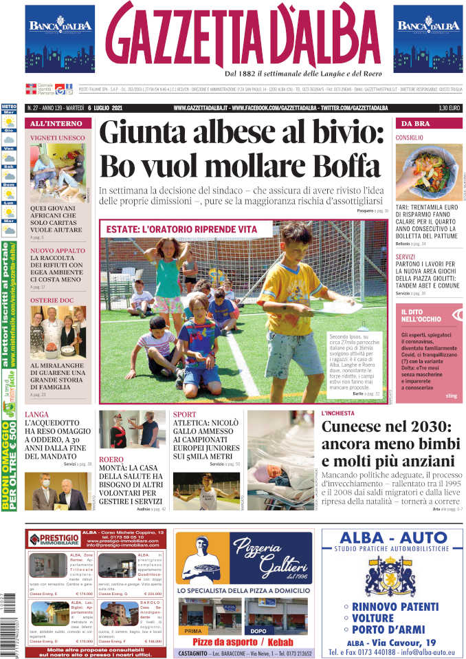 La copertina di Gazzetta d'Alba in edicola martedì 6 luglio