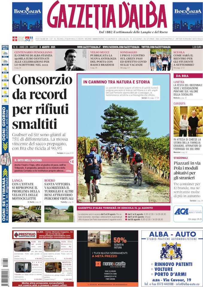 La copertina di Gazzetta d'Alba in edicola sabato 31 luglio