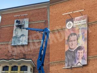 Salesiani di Bra: restaurato il quadro di don bosco sulla facciata dell'istituto