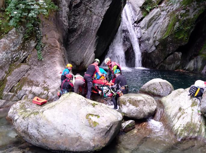 Soccorso alpino speleologico piemontese – intervento torrente Vallungo – Locana – Valle Orco